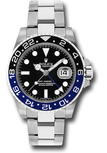 Rolex Steel GMT-Master II 40 Watch - Black And Blue Batman Bezel - Black Dial - Oyster Bracelet