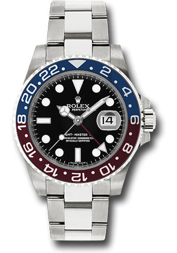 Rolex White Gold GMT-Master II 40 Watch - Blue And Red Pepsi Bezel - Black Dial - Oyster Bracelet