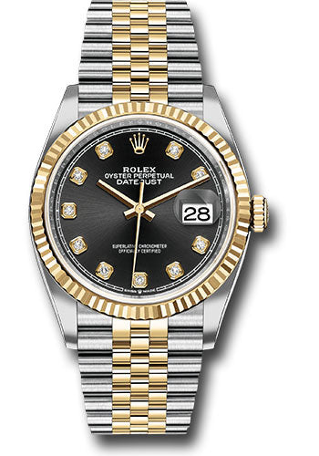 Rolex Steel and Yellow Gold Rolesor Datejust 36 Watch - Fluted Bezel - Black Diamond Dial - Jubilee Bracelet