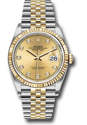 Rolex Steel and Yellow Gold Rolesor Datejust 36 Watch - Fluted Bezel - Champagne Diamond Dial - Jubilee Bracelet
