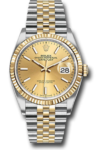 Rolex Steel and Yellow Gold Rolesor Datejust 36 Watch - Fluted Bezel - Champagne Index Dial - Jubilee Bracelet