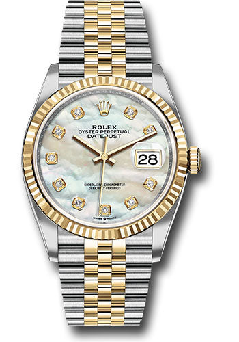 Rolex Steel and Yellow Gold Rolesor Datejust 36 Watch - Fluted Bezel - White Mother-Of-Pearl Diamond Dial - Jubilee Bracelet