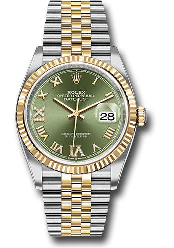 Rolex Steel and Yellow Gold Rolesor Datejust 36 Watch - Fluted Bezel - Olive Green Roman Dial - Jubilee Bracelet