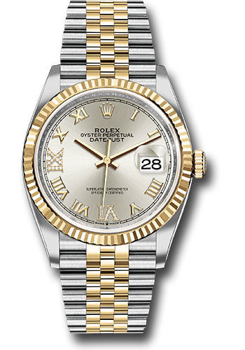 Rolex Steel and Yellow Gold Rolesor Datejust 36 Watch - Fluted Bezel - Silver Roman Dial - Jubilee Bracelet