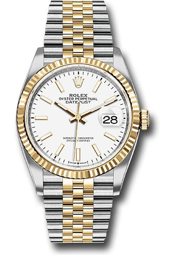 Rolex Steel and Yellow Gold Rolesor Datejust 36 Watch - Fluted Bezel - White Index Dial - Jubilee Bracelet