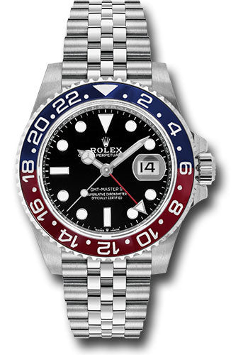 Rolex Steel GMT-Master II 40 Watch - Blue And Red Pepsi Bezel - Black Dial - Jubilee Bracelet