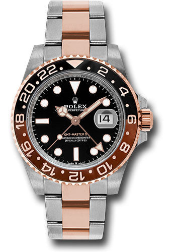 Rolex Everose Rolesor GMT-Master II 40 Watch - Black And Brown Root Beer Bezel - Black Dial - Oyster Bracelet