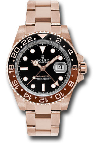 Rolex Everose GMT-Master II 40 Watch - Black And Brown Bezel - Black Dial - Oyster Bracelet