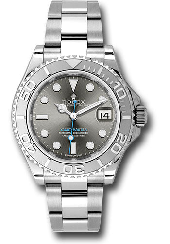 Rolex Steel and Platinum Rolesium Yacht-Master 37 Watch - Dark Rhodium Dial
