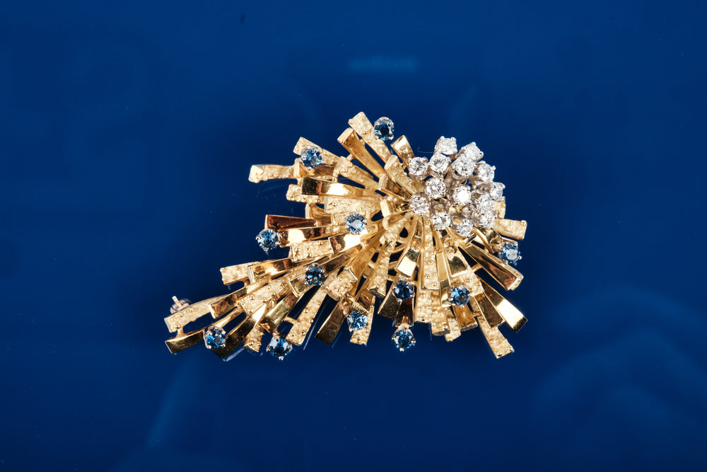 Broche - 18K yellow gold with diamonds and genuine sapphires - Handmade in France
