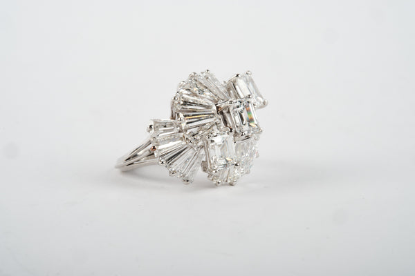 Platinum Ring - With 3 Center Diamonds