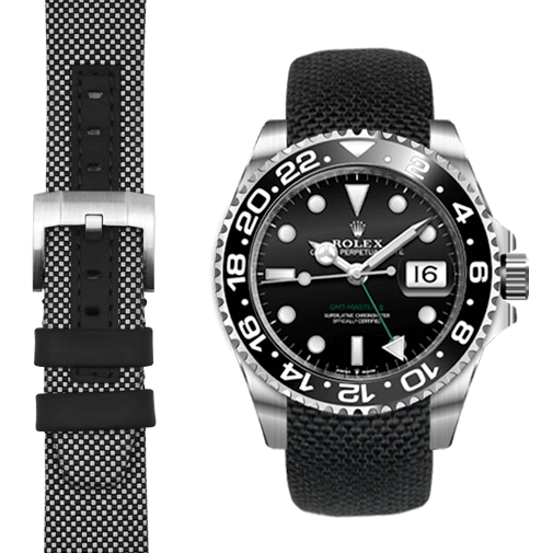 Everest CURVED END NYLON STRAP FOR ROLEX GMT II CERAMIC WITH TANG BUCKLE