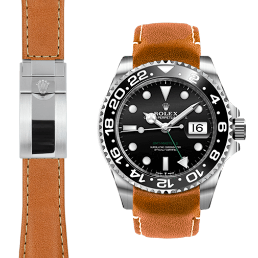 Everest CURVED END LEATHER STRAP FOR ROLEX GMT MASTER II CERAMIC DEPLOYANT