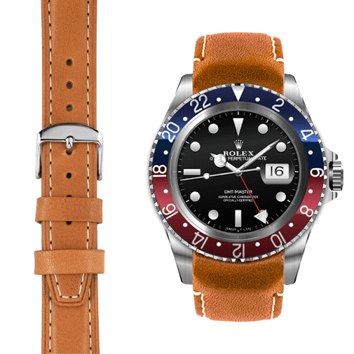 Everest CURVED END LEATHER STRAP FOR VINTAGE GMT WITH TANG BUCKLE