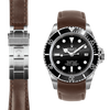 Everest CURVED END LEATHER STRAP FOR ROLEX SEA-DWELLER DEPLOYANT