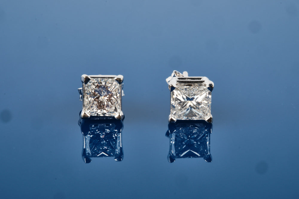 1.35 Carat Princess Cut Diamond Earrings / Studs