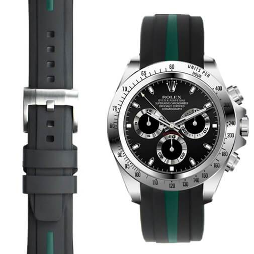 Everest CURVED END BI-COLOR RUBBER STRAP FOR ROLEX DAYTONA WITH TANG BUCKLE