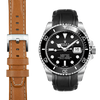Everest CURVED END LEATHER STRAP FOR ROLEX SUBMARINER CERAMIC WITH TANG BUCKLE