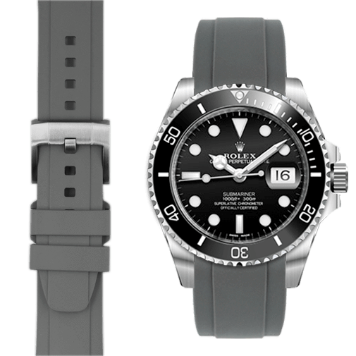Everest CURVED END RUBBER STRAP FOR ROLEX SUBMARINER CERAMIC WITH TANG BUCKLE