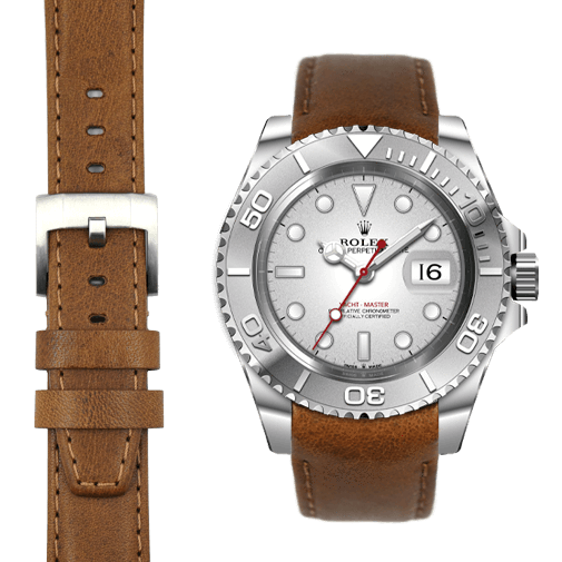 Everest CURVED END LEATHER STRAP FOR ROLEX YACHT-MASTER WITH TANG BUCKLE