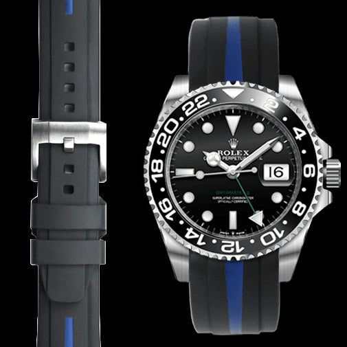 Everest CURVED END BI-COLOR RUBBER STRAP FOR ROLEX GMT MASTER II CERAMIC WITH TANG BUCKLE