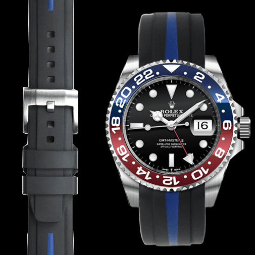 Everest CURVED END BI-COLOR RUBBER STRAP FOR ROLEX GMT MASTER CERAMIC JUBILEE WITH TANG BUCKLE