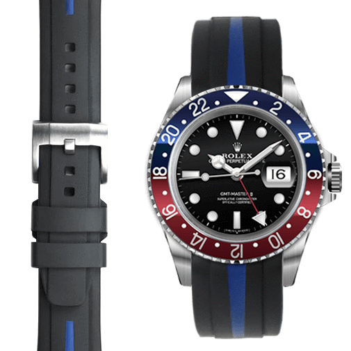 Everest CURVED END BI-COLOR RUBBER STRAP FOR ROLEX GMT MASTER I & II WITH TANG BUCKLE