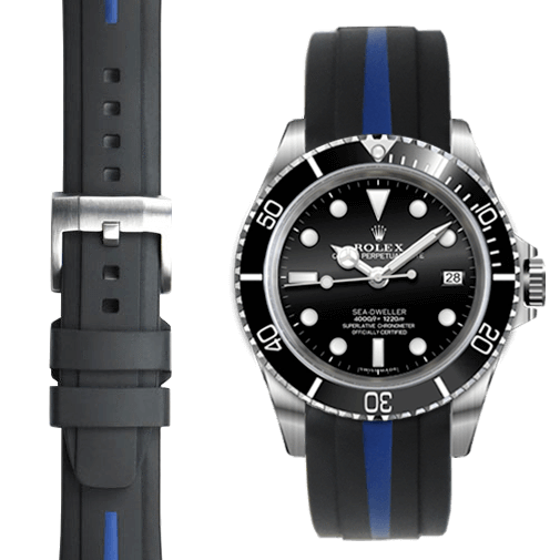 Everest CURVED END BI-COLOR RUBBER STRAP FOR ROLEX SEA-DWELLER WITH TANG BUCKLE