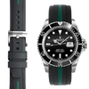 Everest CURVED END BI-COLOR RUBBER STRAP FOR ROLEX SUBMARINER WITH TANG BUCKLE