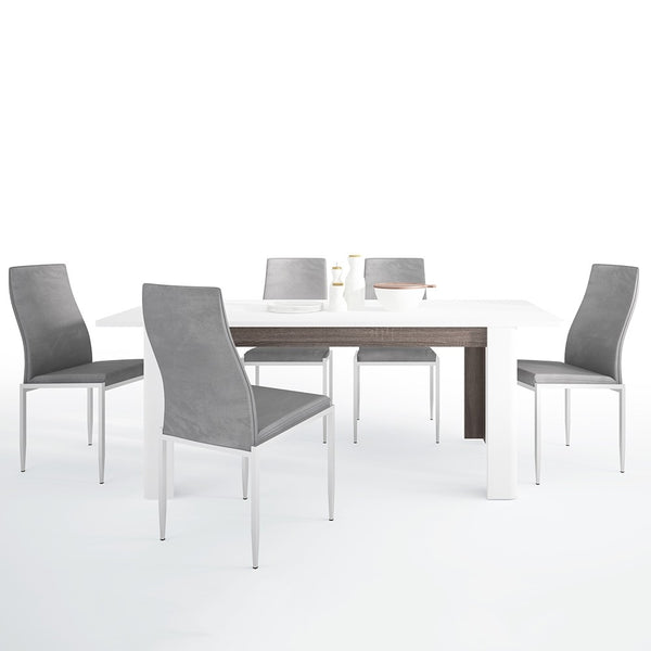 Chelsea Range- Dining set package Chelsea Living Extending Dining Table + 4 Milan High Back Chair Gray