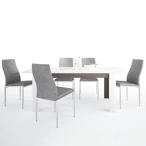 Chelsea Range- Dining set package Chelsea Living Extending Dining Table + 6 Milan High Back Chair Gray