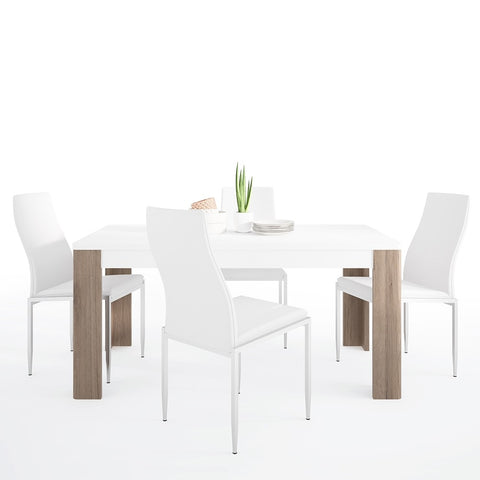 Toronto Range- Dining set package Toronto 160 cm Dining Table + 4 Milan High Back Chair White.
