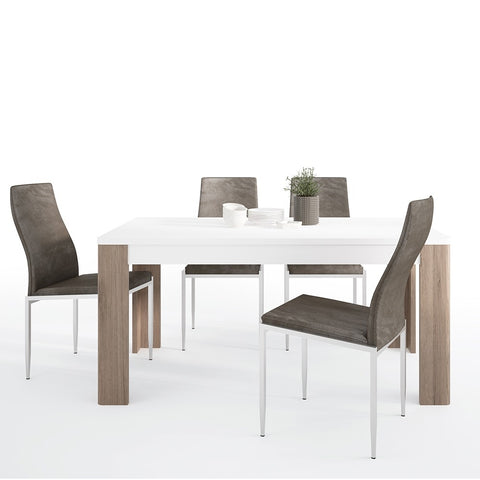 Toronto Range- Dining set package Toronto 160 cm Dining Table + 4 Milan High Back Chair Dark Brown.