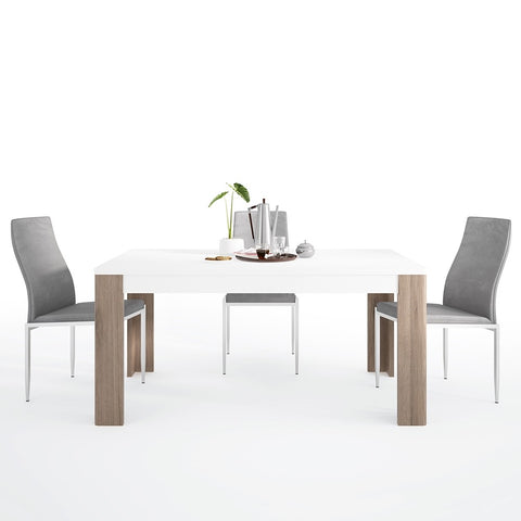 Toronto Range- Dining set package Toronto 160 cm Dining Table + 6 Milan High Back Chair Grey.