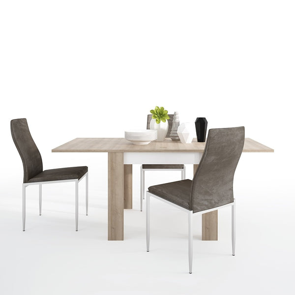 Lyon Range- Dining set package Lyon Small extending dining table 90/180cm + 4 Milan High Back Chair Dark Brown.