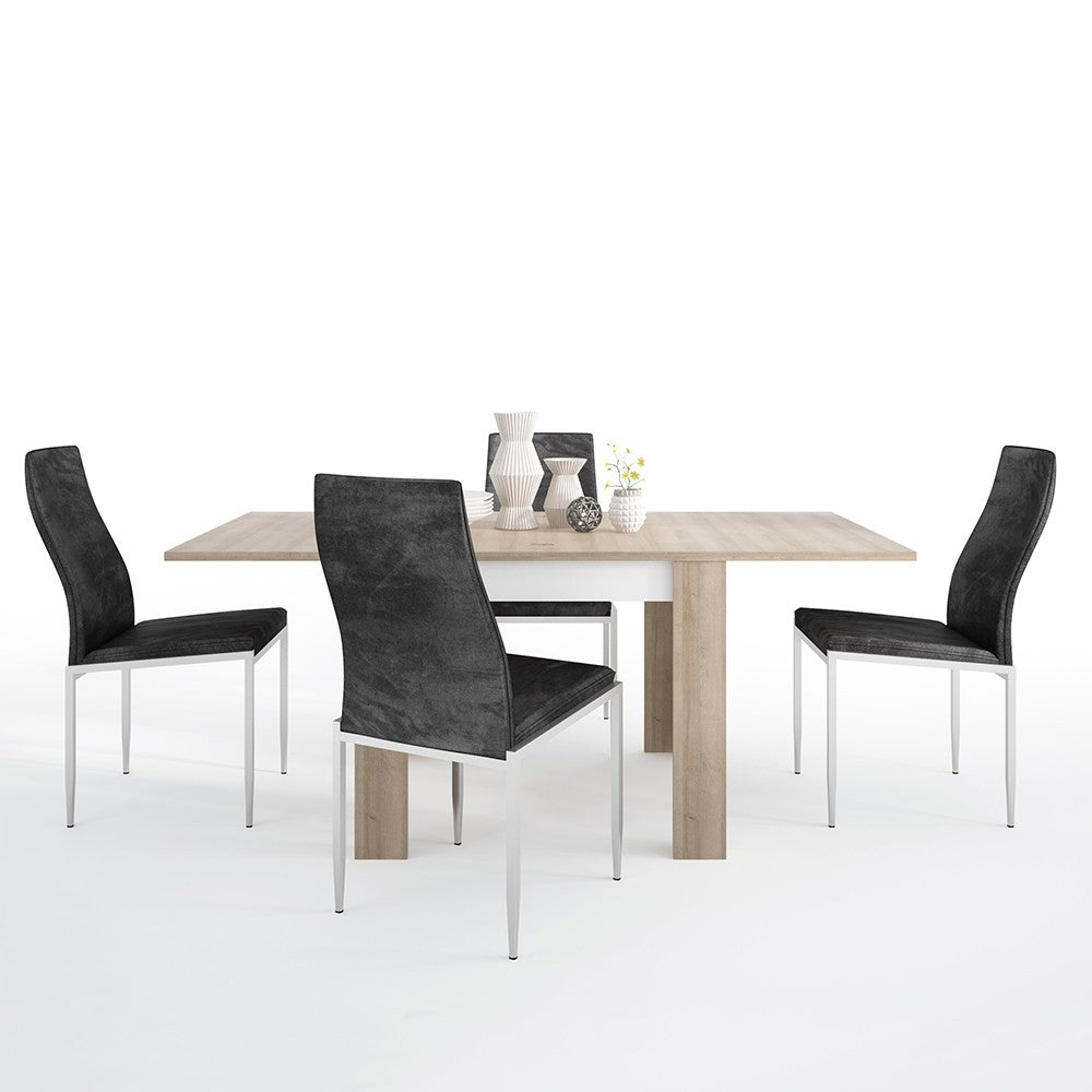Lyon Range- Dining set package Lyon Small extending dining table 90/180cm + 4 Milan High Back Chair Black.