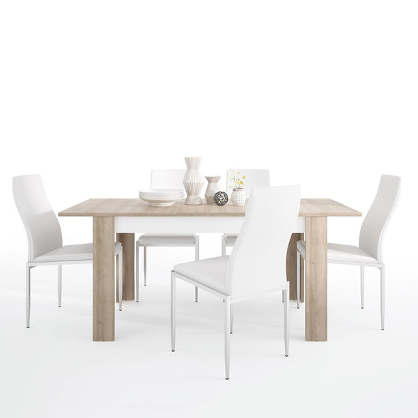Lyon Range- Dining set package Lyon Medium extending dining table 140/180 cm + 6 Milan High Back Chair White.