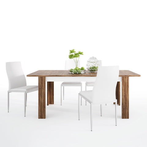 Toledo Range- Dining set package Toledo extending dining table + 6 Milan High Back Chair White.