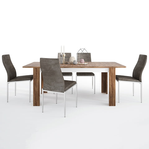 Toledo Range- Dining set package Toledo extending dining table + 6 Milan High Back Chair Dark Brown.