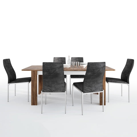 Toledo Range- Dining set package Toledo extending dining table + 6 Milan High Back Chair Black.