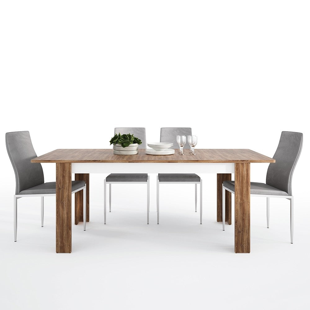 Toledo Range- Dining set package Toledo extending dining table + 4 Milan High Back Chair Grey.
