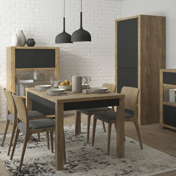 Havana Range- Dining set package Havana extending dining table + 6 Milan High Back Chair Dark Brown.