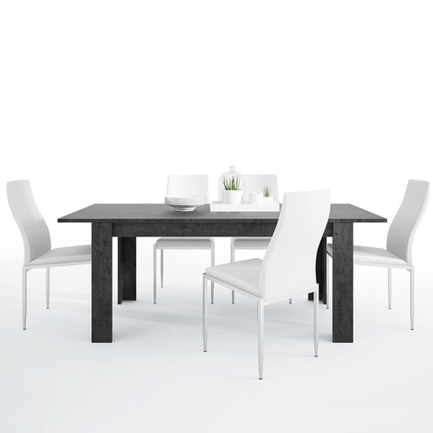 Zingaro Range- Dining set package Zingaro Dining table + 4 Milan High Back Chair White.