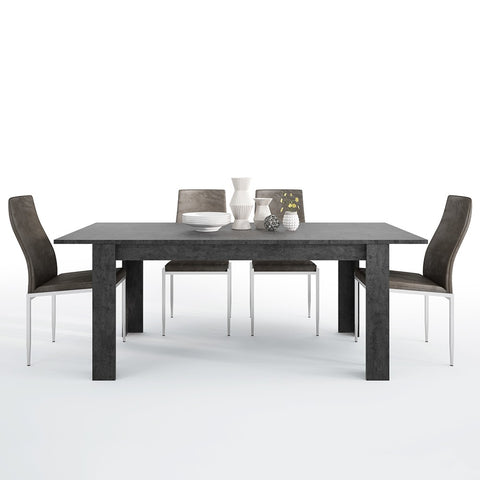 Zingaro Range- Dining set package Zingaro Dining table + 4 Milan High Back Chair Dark Brown.