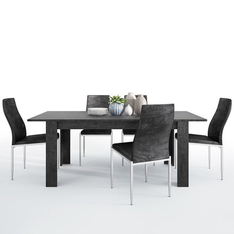 Zingaro Range- Dining set package Zingaro Dining table + 4 Milan High Back Chair Black.