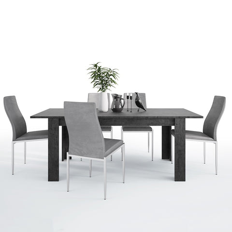 Zingaro Range- Dining set package Zingaro Dining table + 4 Milan High Back Chair Grey.