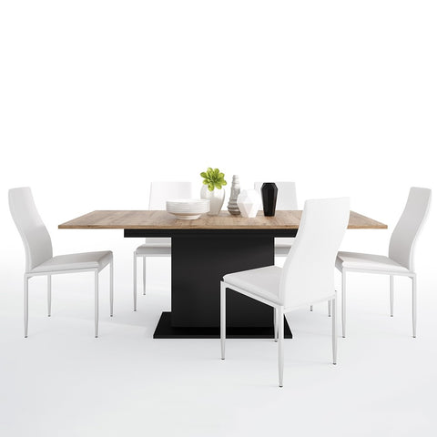 Brolo Range -Dining set package Brolo Extending Dining Table + 4 Milan High Back Chair White.