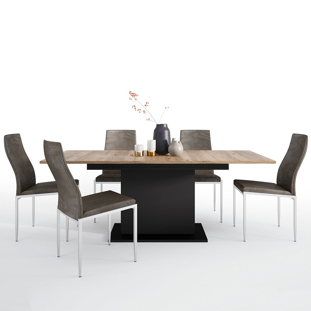 Brolo Range -Dining set package Brolo Extending Dining Table + 4 Milan High Back Chair Dark Brown.