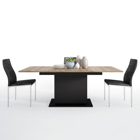 Brolo Range -Dining set package Brolo Extending Dining Table + 4 Milan High Back Chair Black.