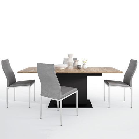 Brolo Range -Dining set package Brolo Extending Dining Table + 4 Milan High Back Chair Grey.